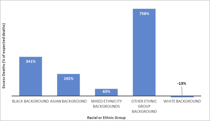 The bar graph shows the percentage of excess deaths based on expected number of deaths and actual number of deaths based on population structure of racial and ethnic groups. Black, Asian, and Minority Ethnic (BAME) population groups all show a positive excess death percentage, with Black background showing 341% excess deaths. The white population group shows a negative excess death percentage, at -13% excess deaths. The graph concludes that the Black background group is dying at higher rates than the white background group.