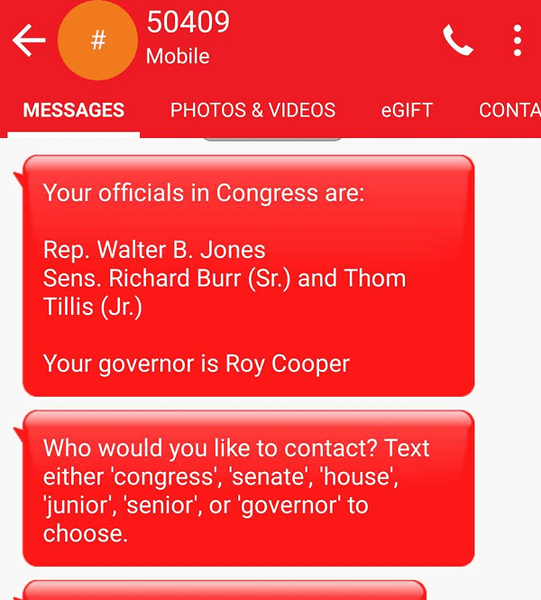 Resistbot tells me who my North Carolina Representatives are for political activism