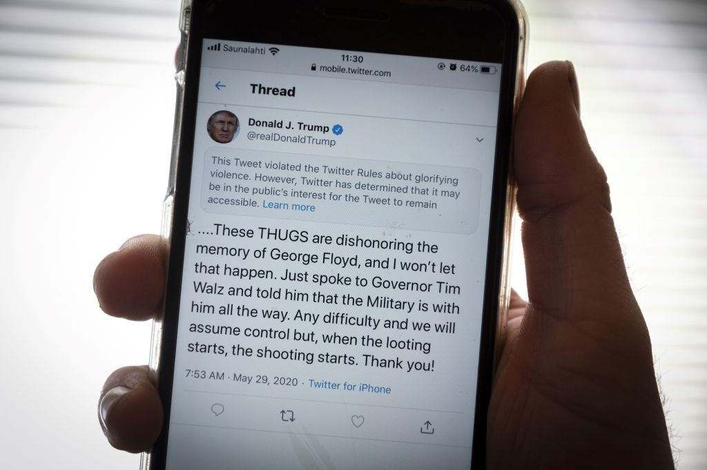 Trump promotes violience says twitter