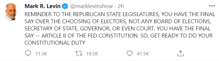 Mark Levin tweets on election