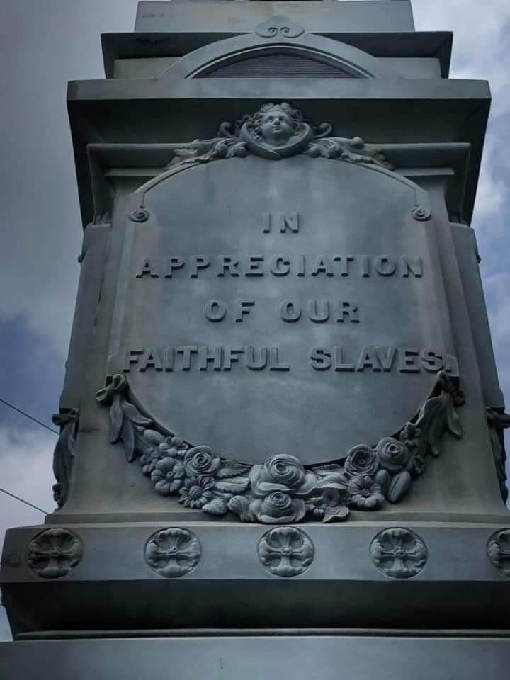 A portion of the Confederate statue in Columbia, NC