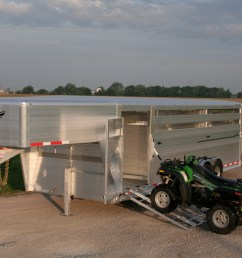 optional front vent and cover and 52 inch wide left hand escape door ramps and atv not included hillsboro industries endura aluminum livestock trailer [ 3456 x 2304 Pixel ]