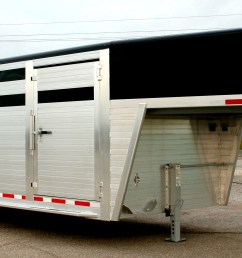 shown with optional painted roof cove nose painted black contact your local dealer for pricing hillsboro industries endura aluminum livestock trailer [ 2664 x 1246 Pixel ]