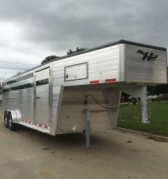 hillsboro industries endura aluminum livestock trailer shown with optional painted roof cove contact your local [ 4032 x 3024 Pixel ]