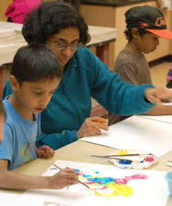 A family making paintings together