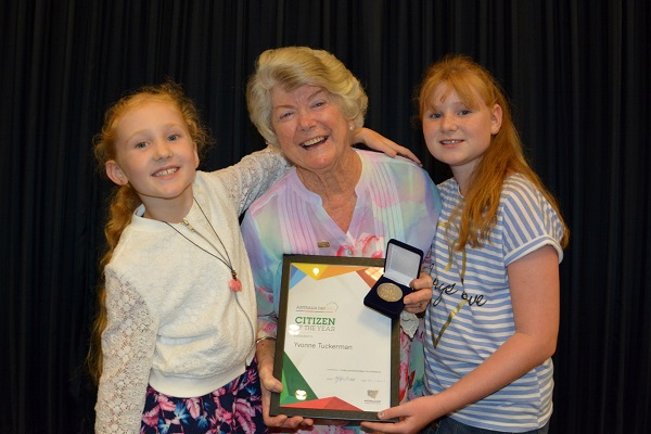 The 2017 Citizen of the Year - Yvonne Tuckerman with her granddaughters Isabelle, 8 and Jazmin, 9