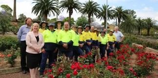 Mayor Dr Michelle Byrne with the Roxborough Park Rose Garden Team.