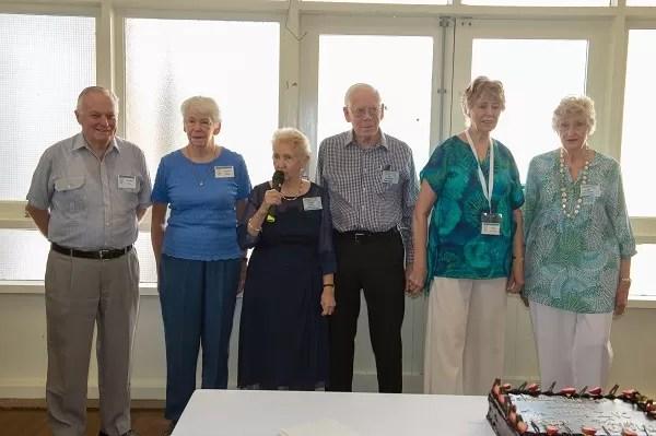 Foundation members L to R Warwick Hayes, Dorothy Milligan, Connie Vallis, Gilbert Cowlishaw, Sylvia Cowlishaw and Jill Matthews.
