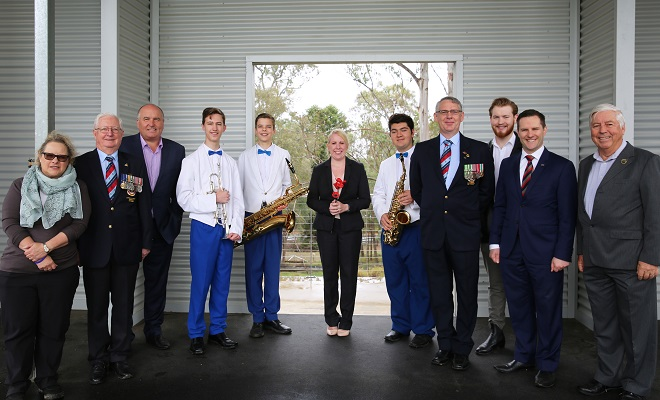 (From Left to right) Hills Mayor Michelle Byrne, David Elliott MP and Minister for Veteran Affairs, Harrison Maxwell, Austin Breakwell, and Michael Theodoridis from the Castle Hill RSL Youth Wind Orchestra, Alex Hawke MP Federal Member for Mitchell and Don Tait and David Hand from the organising committee.(Photo by Bev Jordan)