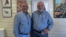 Art Garino (L) with Hilltop president Derwent Suthers at a recent show