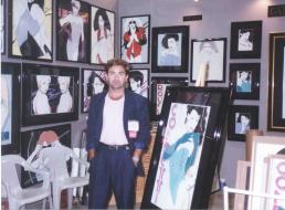 """Preciado with his famous """"grpahic ladies"""" in the 80s"""