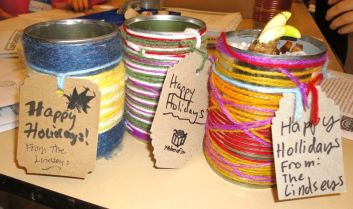 Yarn Wrapped Tin Can Planters (Planting Paperwhites)