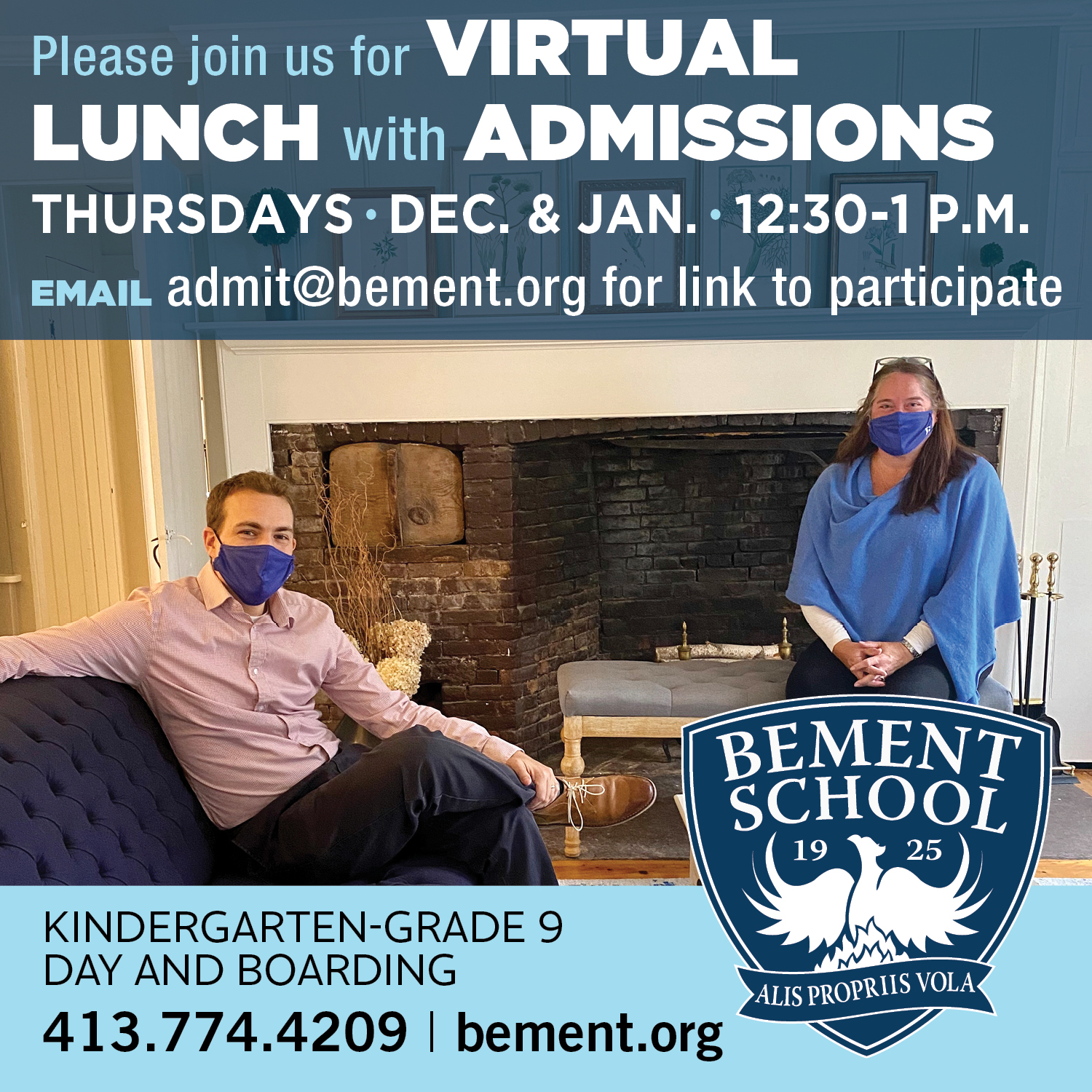 Sponsor Image for Bement School announding virtual lunch with admission on Thursdays in December and January from 12:30-1pm.