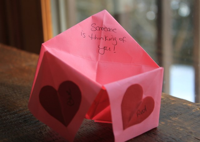Example of an origami valentine.