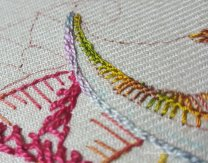 linked chain stitch sampler