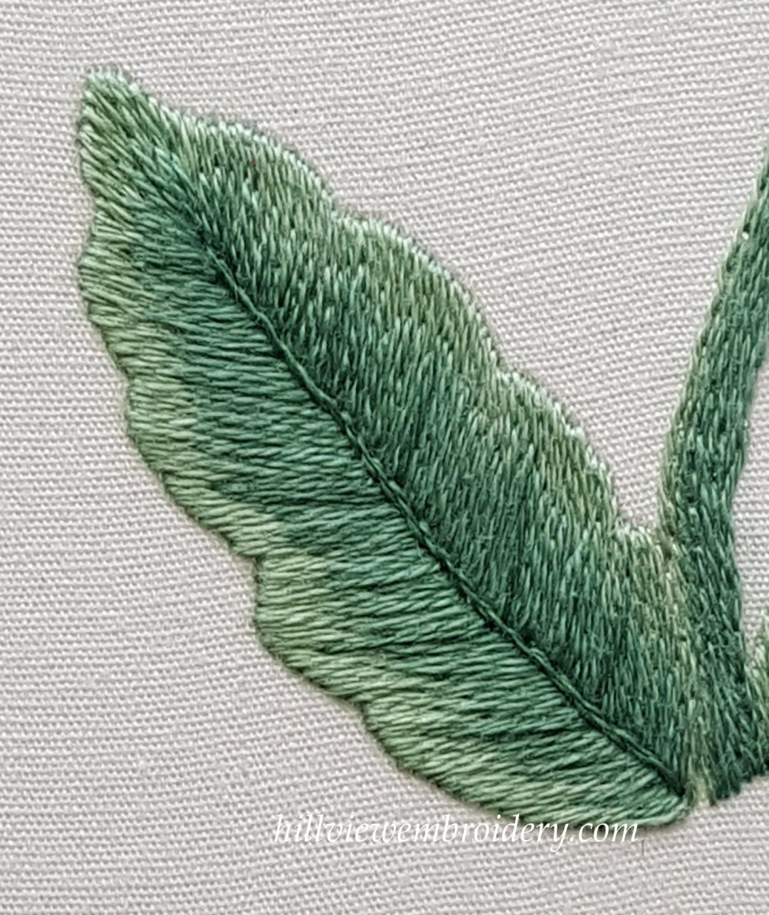 A leaf completed in silk shading with veins highlighted