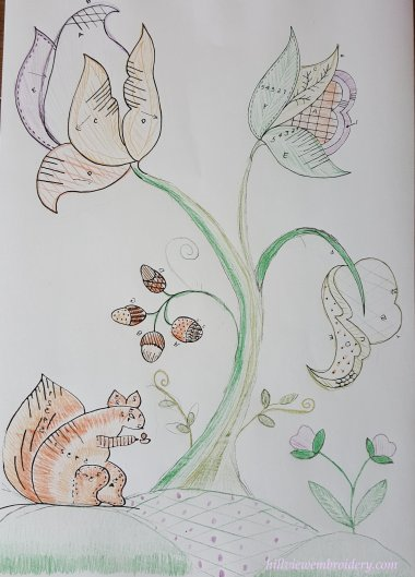 Colour designing a Jacobean crewelwork piece by Catherine of Hillview Embroidery