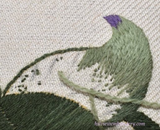 How to work a tight angle in long and short stitch
