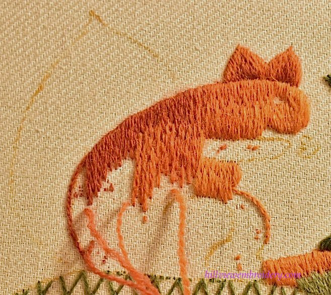 shaded long and short stitch in crewelwork