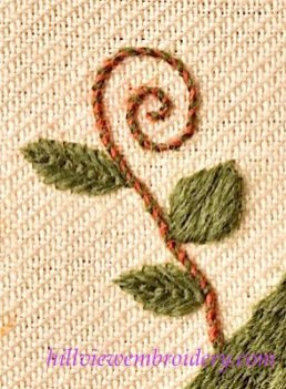 whipped back stitch worked in crewel wool