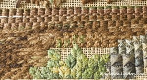 Canvaswork stitched using wool, cotton and silk to create great textural variety