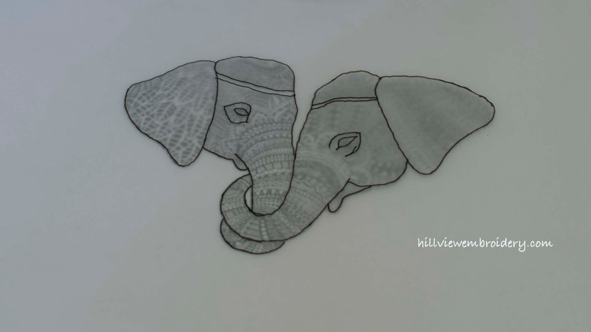 design for elephant wedding anniversary gift by Catherine of Hillview Embroidery