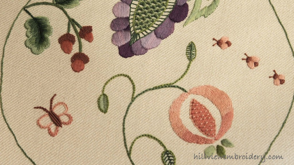 Fruitful Abundance crewelwork