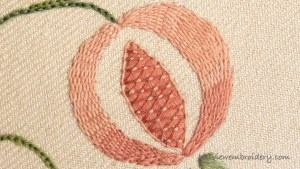 pomegranate stitched in burden stitch