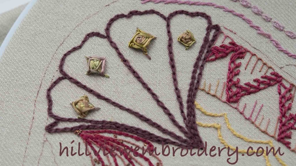 chain stitch worked in wool