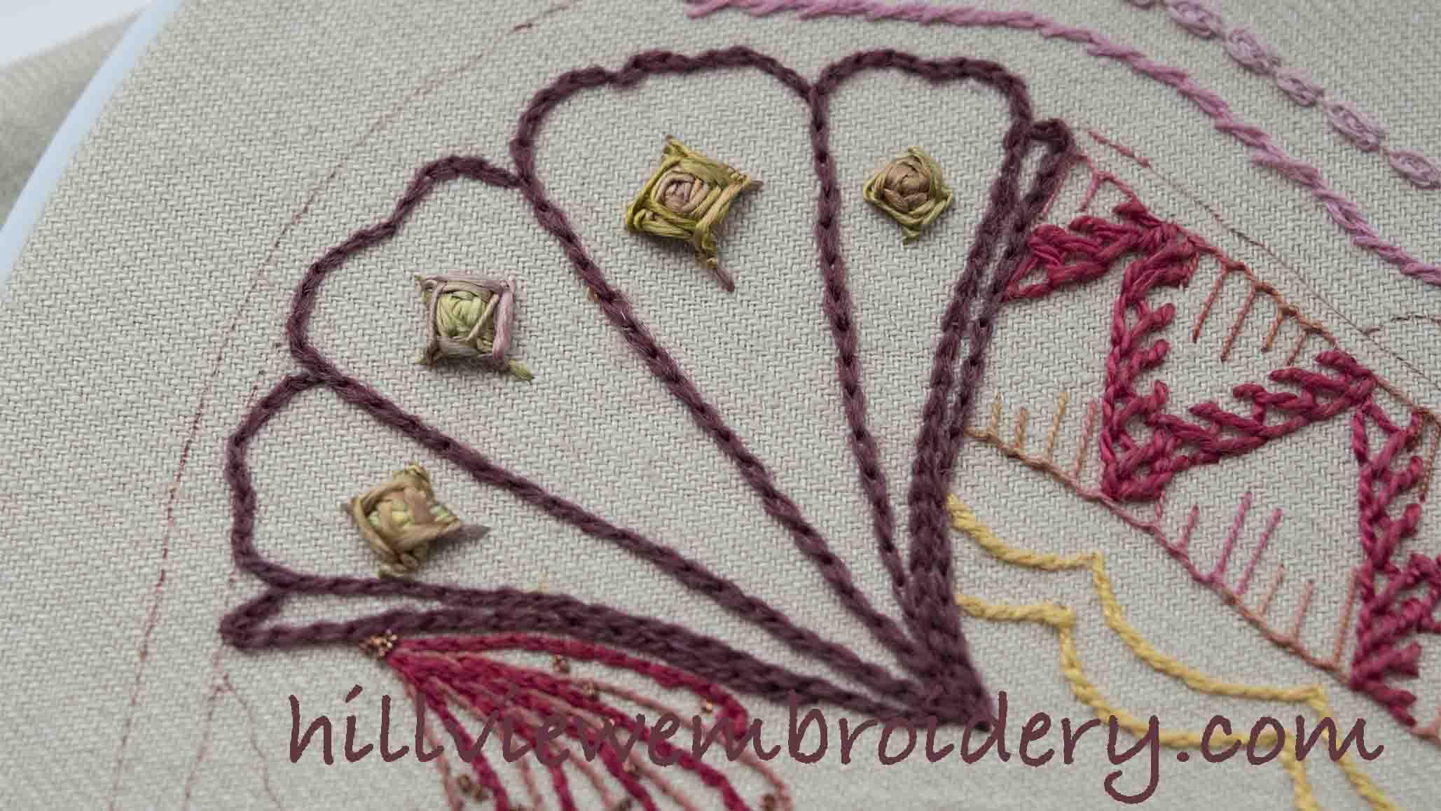 chain stitch worked in wool