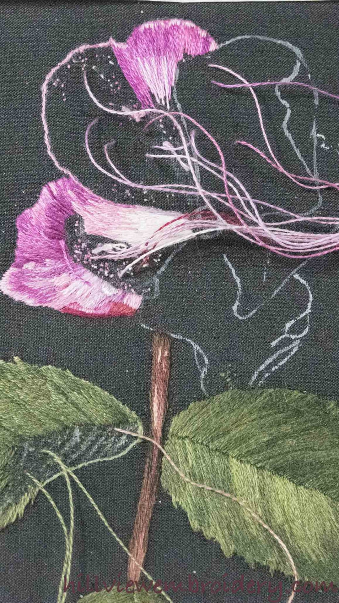 Progress on a silk shaded rose being worked as part of the RSN Certificate