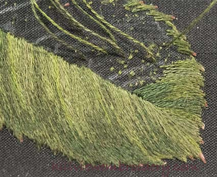 Beginning the stitching of the second half of the leaf on a silk shaded piece