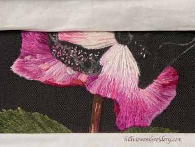 Silk shaded rose petal, designed and stitched by Catherine Patterson as part of the RSN Certificate