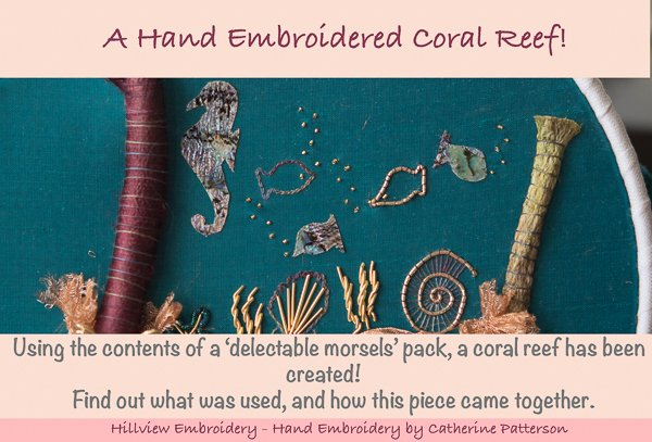 Hand embroidered coral reef scene