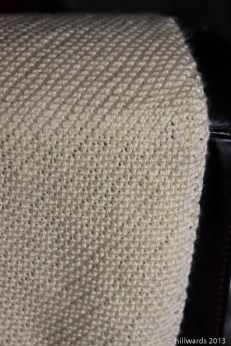 Diagonal garter stitch blanket hanging