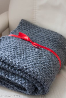 folded double seed stitch hand-knit blanket