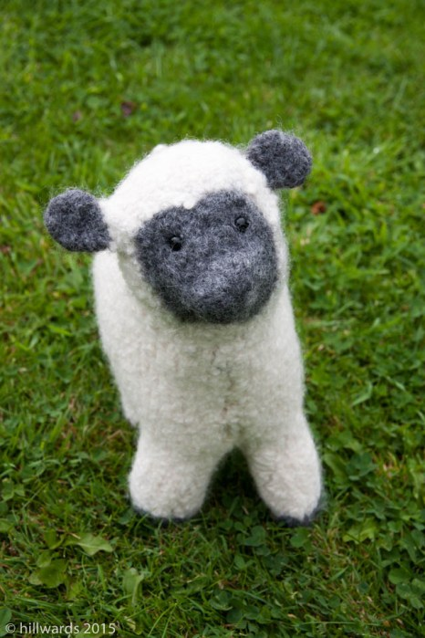 Felt flock hand knitted and felted sheep toy complete