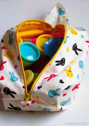 Handmade Finn soft boxy bag for playdough storage
