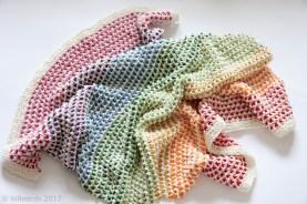 Knit handmade cotton rainbow stripe baby blanket