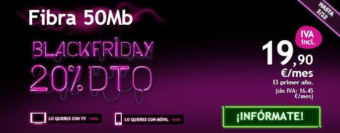 Chollo Black Friday Fibra óptica de ONO 50 Mb por 19,90 €