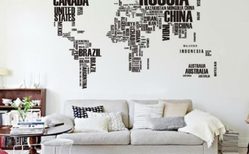 Vinilo del mapa del mundo para una pared por 4,17 €