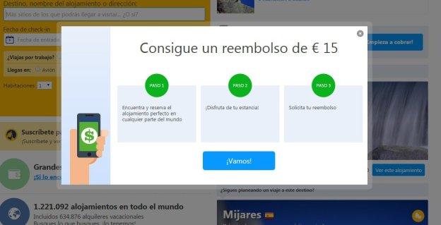 Cupón de 15 € descuento para reservar hotel por booking