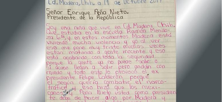 Niña en Madera pide a Peña deje de robar y garantice seguridad