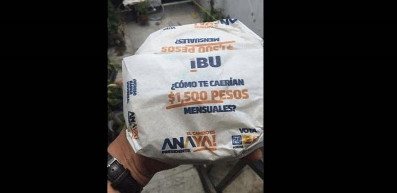 INE ordena suspender propaganda de Anaya y tarjeta IBU en papel para tortillas