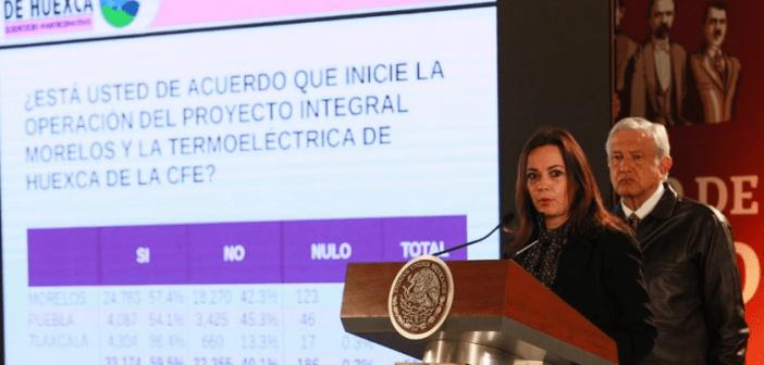 """Gana el """"Sí"""" a la planta termoeléctrica en Huexca: AMLO"""