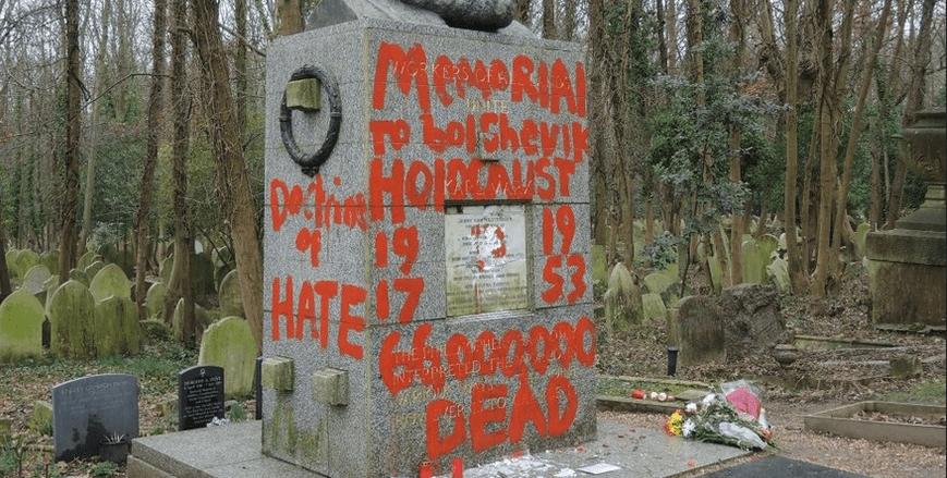 Vandalizan otra vez la tumba de Marx en Londres