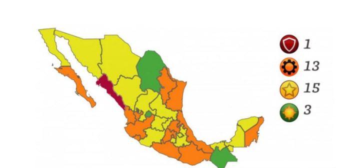 Semáforo Covid: Tercera ola lleva naranja a 13 y Sinaloa en rojo