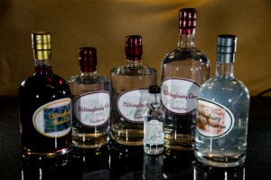 Hiltingbury Products of Gin, Sloe Gin and Apple Schnapps