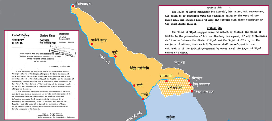 राष्ट्रसंघ दस्ताबेजमा काली नदीवारि नेपाल