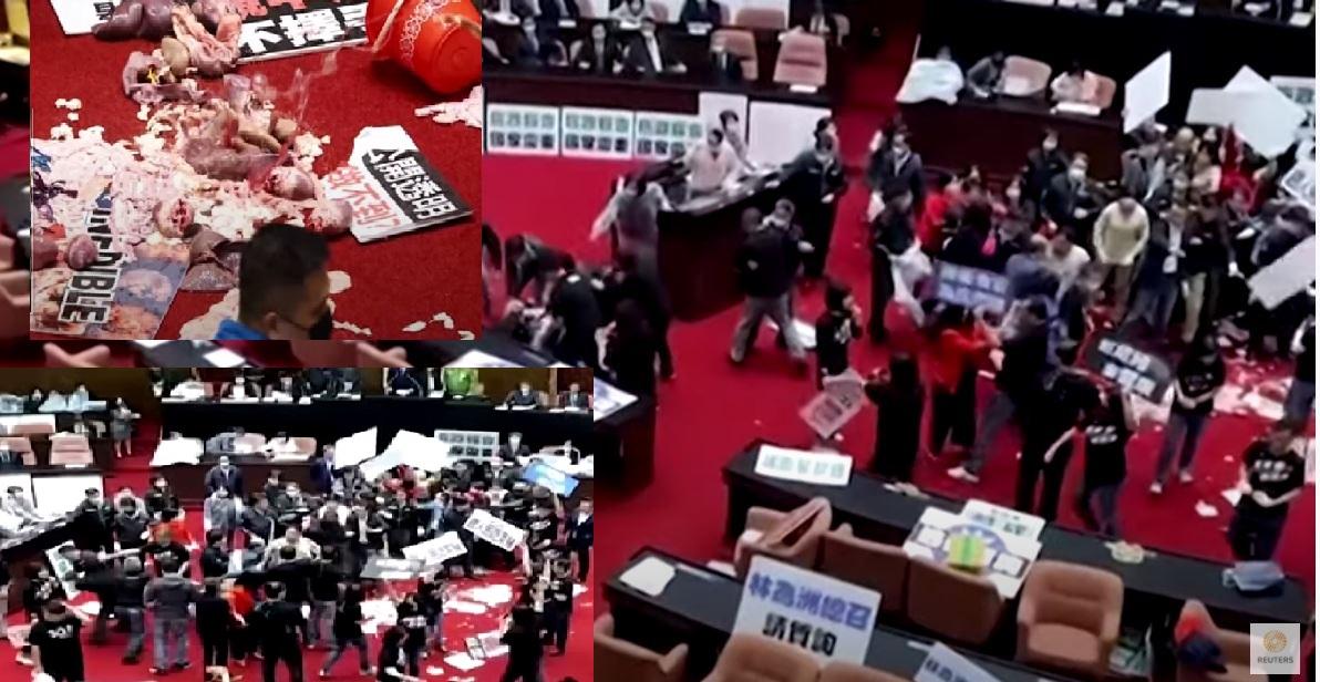 ताइवानकाे संसदमा लफडाः सुँगुरको मासुले हाने प्रमको मुखमा (भिडियो)